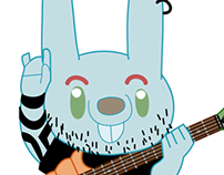 GIF: Rabbit with Carrot Guitar