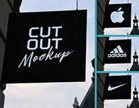 Free Cutout Wall Hanging Shop Sign Board Mockup PSD