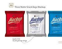 Three Matte Snack Bags Mockup​​​​​​​