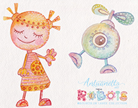 Beep Beep! Robots Party! Watercolor collection
