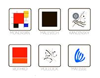 Modern art minimal set icons