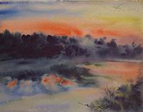 Lake, watercolor