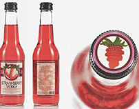 Strawberry Vodka Bottle Label Design