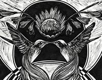 Linocut: M.C. Escher Inspired