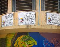 Tira urbana en Cunduacán, Tabasco.