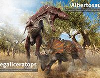 Albertosaurus&Regaliceratops.making