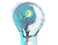 Ecology & Energy. Watercolor illustration