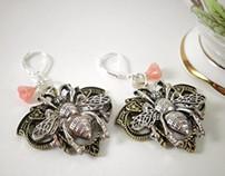 Art Nouveau Fairy Bee Earrings