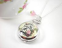 Cottage Chic Silver Watch Locket Necklace