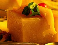 Mango pudding with jelly glaze