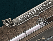 Achievements window, dark fantasy UI