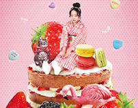 "Fruit&Kimono Art Photo Series - ""Strawberry"" Collage"