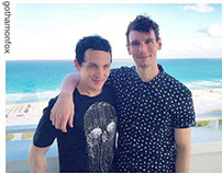 "Robin Lord Taylor wearing ""Black Widow"" T-shirt"