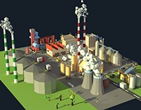 Low Poly Cartoony Industrial Complex