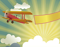 Biplane with Banner Vector Background