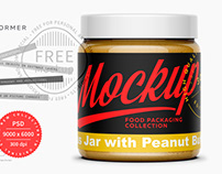 Free Clear Glass Jar with Peanut Butter Mockup 500ml