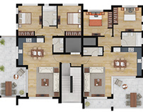Color 2D Floor Plan Rendering Services