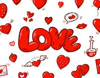 Vector cartoon hearts