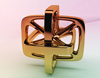 Geometric form, in brass, in glass
