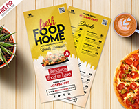 Free PSD : Food Menu Card PSD Template Freebie
