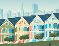 San Francisco Retro Travel Poster City Illustration