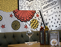 Thomas Hardy wall mural for Zizzi Dorchester