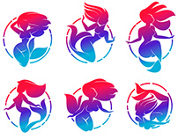 Mermaid logo templates