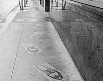 Mosaic Shoes on sidewalk, San Antonio, TX, 2015