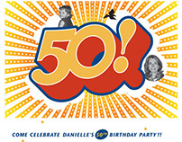 Danielle's 50th Birthday / invitation and wine label
