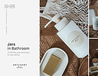 Jars Blank Mockup in Boho Bathroom
