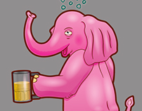 Pink Elephant - Drunk Poster Character