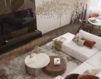 3D визуализация гостиной комнаты