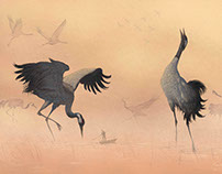 The tiny travelers- Cranes pencil + digital art