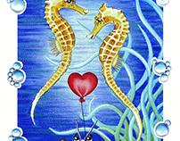 Two Seahorses in Love - Children's illustration
