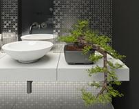 Minimalistic luxury black bathroom with silver mosaic