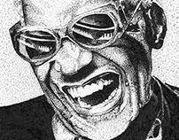Portait Ray Charles pointillisme