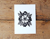 Hand Pressed Spring Flower Linocut on Bockingford Paper