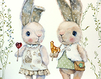 Watercolor rabbits