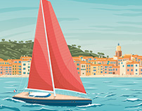 Saint Tropez France Retro Travel Poster Illustration