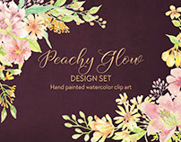 Peachy Glow watercolor design set