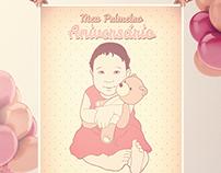 Aniversário Julinha - Convite, Caricatura e Poster
