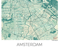 Amsterdam, Nederlands. Blue vintage watercolor