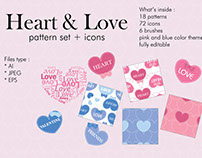 Heart & love pattern set + icons