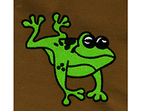HAPPILY CROAKING AND LEAPING FROG EMBROIDERY DESIGN