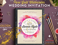 Pure Gold Watercolor Wedding Invite