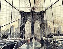 watercolors of famous bridges