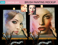 Brush painting mockup - watercolor paint mockup PSD