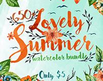 650+ LOVELY SUMMER WATERCOLOR BUNDLE