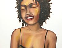 """Painting """"Femme aux yeux fermés"""" Mixed Material"""
