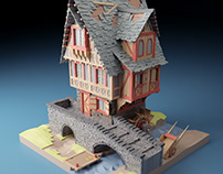 Watermill - Low poly 3D